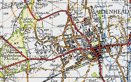 Old map of Maidenhead in 1947