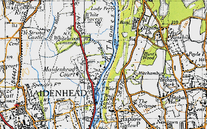 Old map of White Brook in 1945