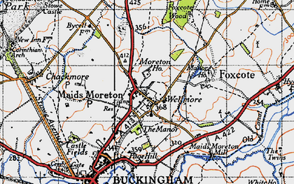 Old map of Maids' Moreton in 1946