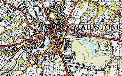Old map of Maidstone in 1946