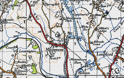 Old map of Maisemore in 1947