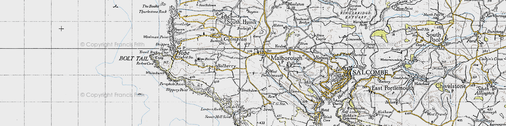 Old map of Malborough in 1946