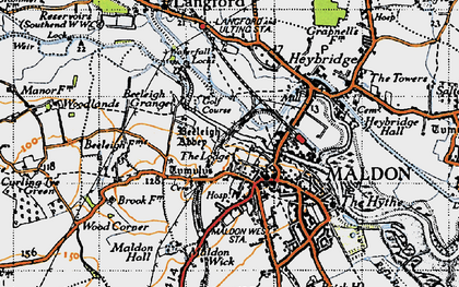 Old map of Maldon in 1945