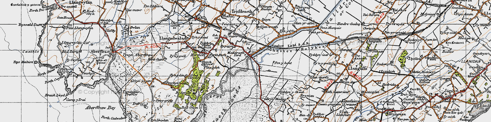 Old map of Malltraeth in 1947