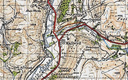 Old map of Mallwyd in 1947