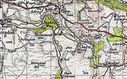 Old map of Badgworthy Lees in 1946