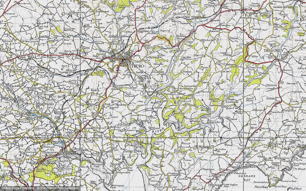 Old Map of Historic Map covering Woodbury in 1946
