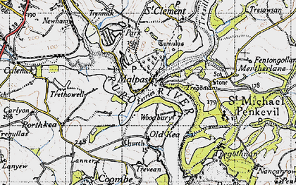 Old map of Malpas in 1946