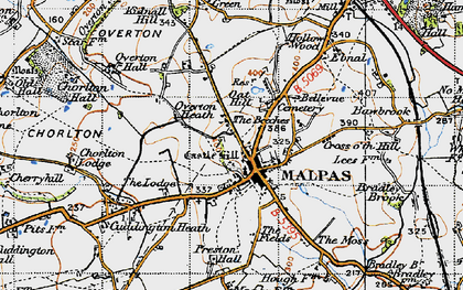 Old map of Malpas in 1947