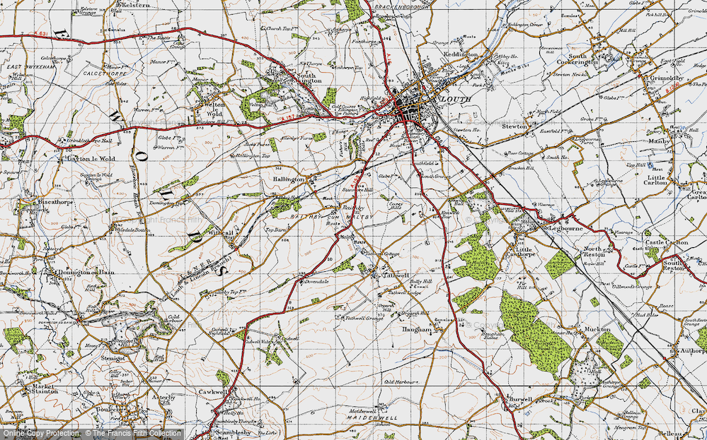 Old Map of Historic Map covering Coxey Hills in 1946