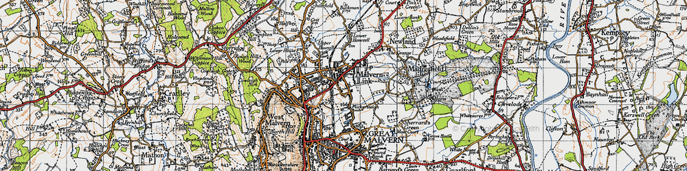Old map of Malvern Link in 1947