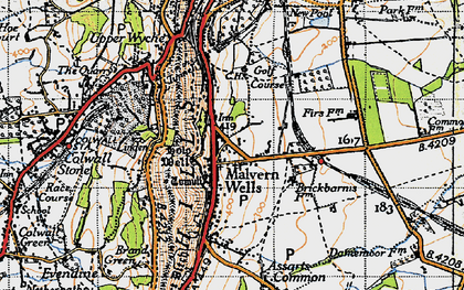 Old map of Malvern Wells in 1947