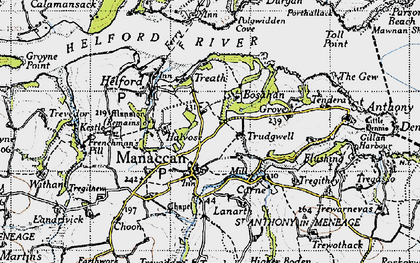 Old map of Manaccan in 1946