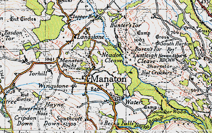 Old map of Manaton in 1946