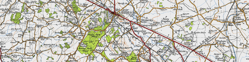 Old map of Mancetter in 1946