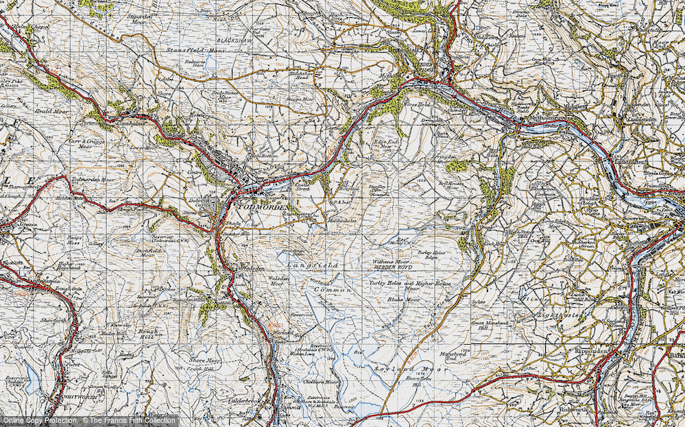 Old Map of Mankinholes, 1947 in 1947