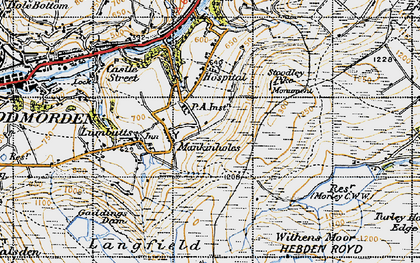 Old map of Withins Clough Reservoir in 1947