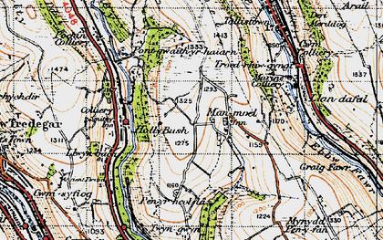 Old map of Manmoel in 1947