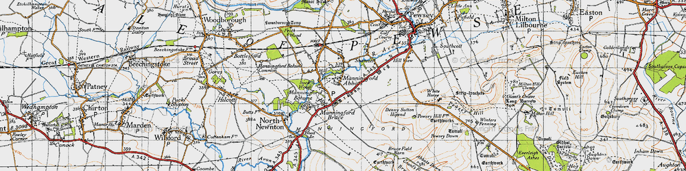 Old map of Abbots Down in 1940