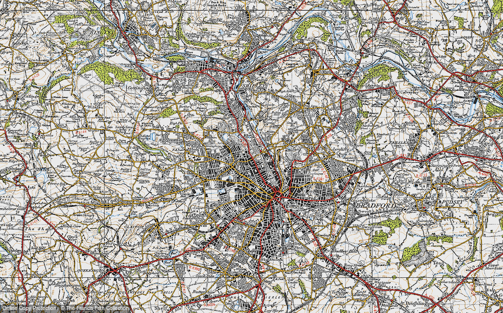 Old Map of Historic Map covering West Riding of Yorkshire in 1947