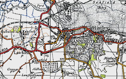 Old map of Manningtree in 1945