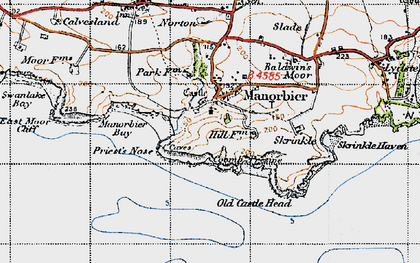 Old map of Manorbier in 1946