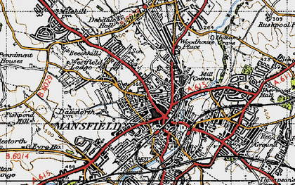 Old map of Mansfield in 1947