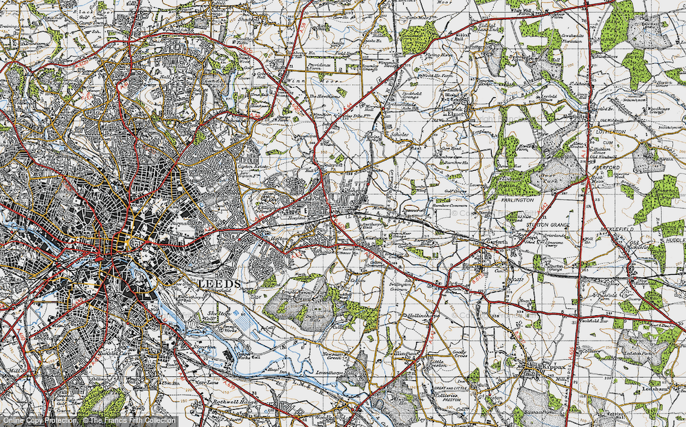 Old Map of Historic Map covering Austhorpe Hall in 1947