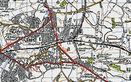 Old map of Austhorpe Hall in 1947