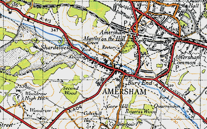 Old map of Mantles Green in 1946
