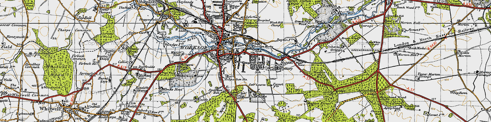 Old map of Worksop College in 1947
