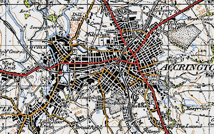 Old map of Accrington in 1947