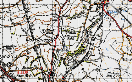 Old map of Adlington Park in 1947