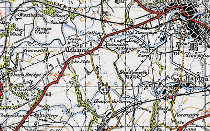 Old map of Altham in 1947