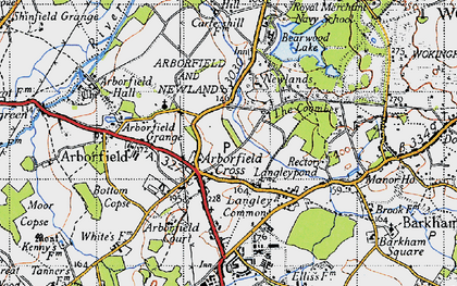 Old map of Arborfield Cross in 1940