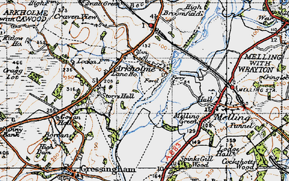 Old map of Arkholme in 1947