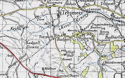 Old map of Badgall in 1946