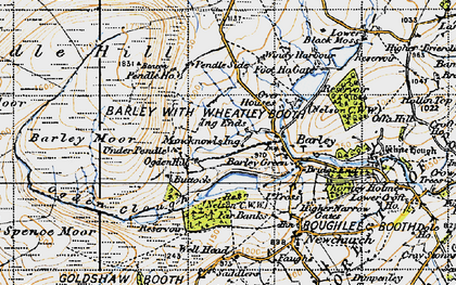 Old map of Barley Green in 1947