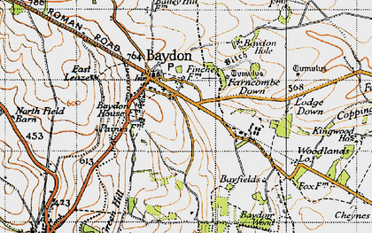 Old map of Baydon in 1947