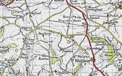 Old map of Bealbury in 1946