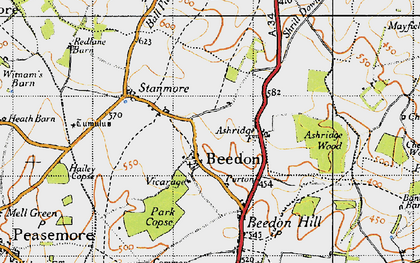 Old map of Beedon in 1947