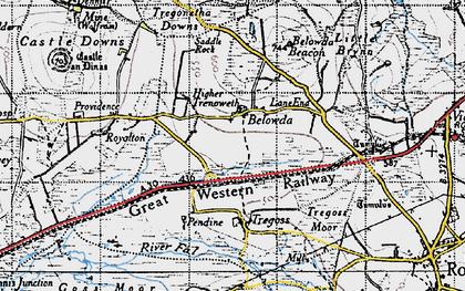 Old map of Belowda in 1946