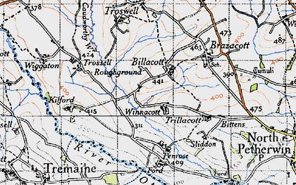 Old map of Billacott in 1946