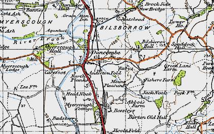 Old map of Bilsborrow in 1947