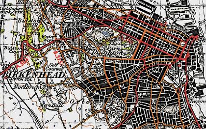 Old map of Birkenhead in 1947