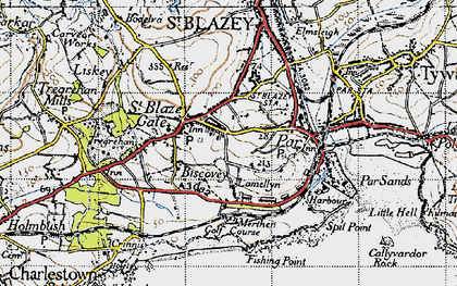 Old map of Biscovey in 1946