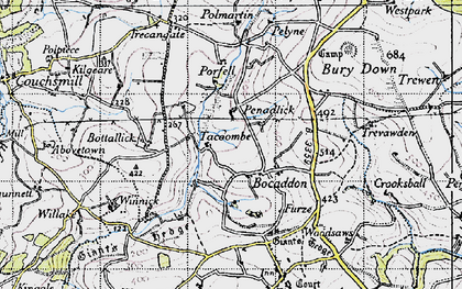 Old map of Bocaddon in 1946