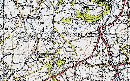 Old map of Bodelva in 1946