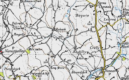 Old map of Bodilly in 1946