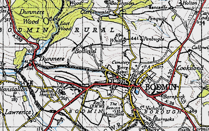 Old map of Bodmin in 1946